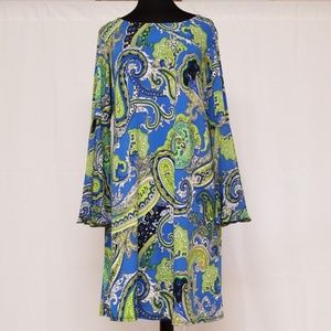 Plus Size Multi-colored Blue Bell Sleeve Dress NWT